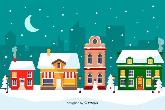 フラットなデザインのクリスマスタウン