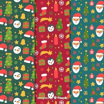 手描きのクリスマスパターンのコレクション
