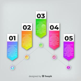 手順とモダンなインフォグラフィック