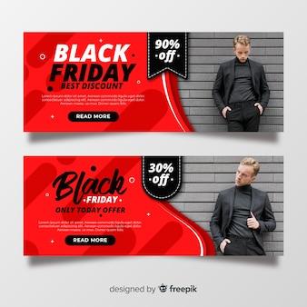 写真とフラットなデザインブラックフライデーバナー