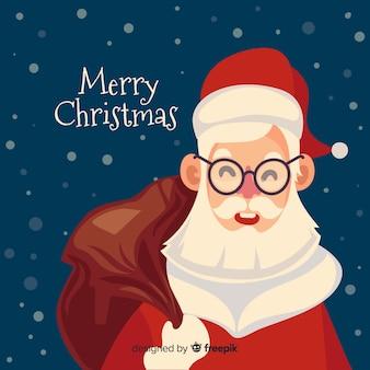 Санта-клаус новогодний фон плоский дизайн