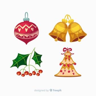 フラットなデザインスタイルの美しいクリスマスの装飾