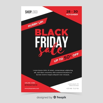 Плоский дизайн черная пятница плакат