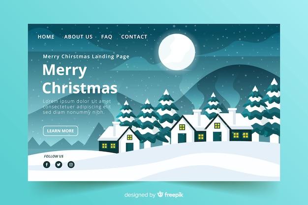 フラットなデザインスタイルのクリスマスランディングページ
