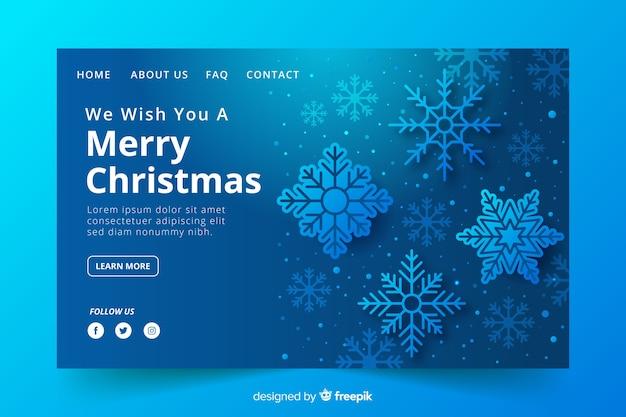 Рождественская целевая страница со снежинками