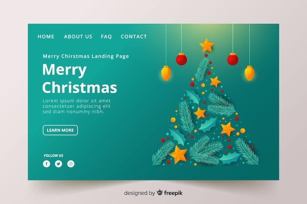 Рождественская целевая страница в стиле плоский дизайн