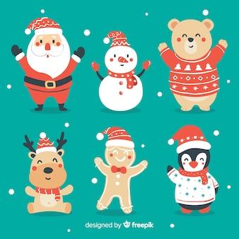 Коллекция рисованной рождественские персонажи