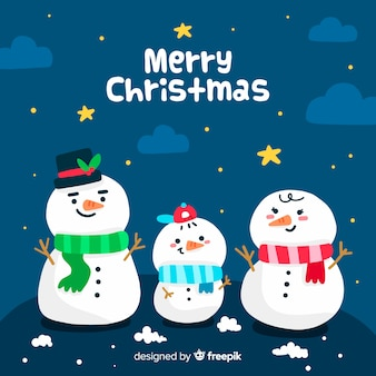 手描き雪だるまとクリスマスの背景