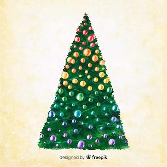 セピア色の背景に水彩のクリスマスツリー