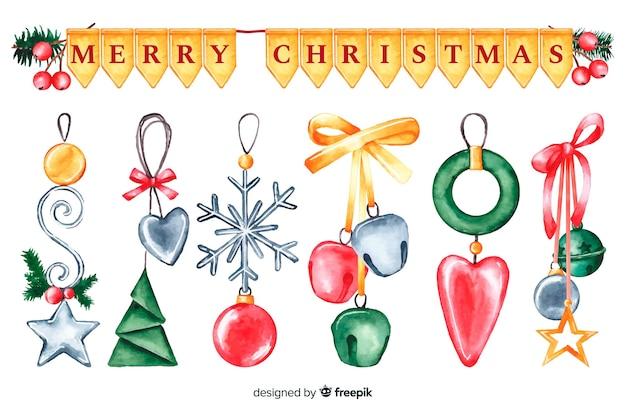 Акварельные рождественские украшения и гирлянды