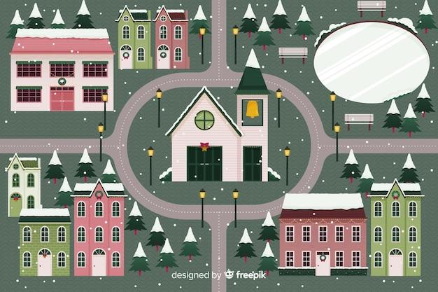 Плоский рождественский городок с церковью