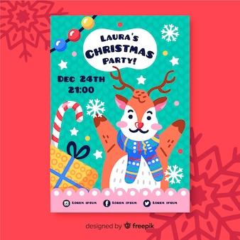 トナカイとクリスマスパーティーのポスター