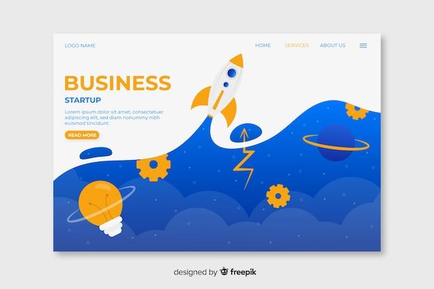 雲と宇宙ロケットの上の空とビジネススタートアップのランディングページ