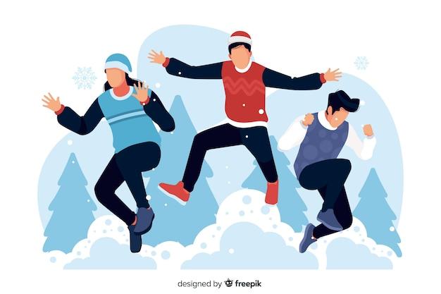 Люди в зимней одежде прыгают