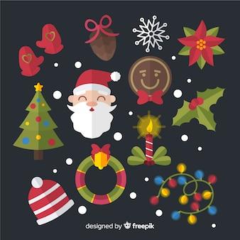 黒い背景にフラットクリスマス要素コレクション
