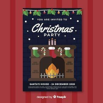 Шаблон плаката рождественской вечеринки с камином в плоском исполнении