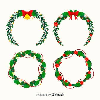 フラットなデザインのクリスマスのシンプルな花輪