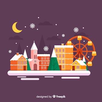 Плоский рождественский городок с парком развлечений