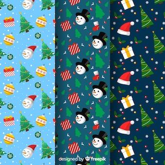 クリスマスツリーと雪だるまのシームレスパターン
