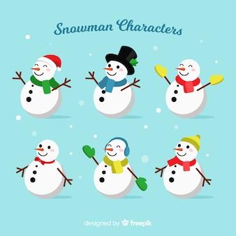 アクセサリーフラットデザインと雪だるまのキャラクター