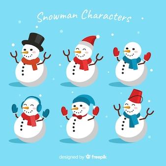 雪だるまフラットデザインのさまざまな衣装
