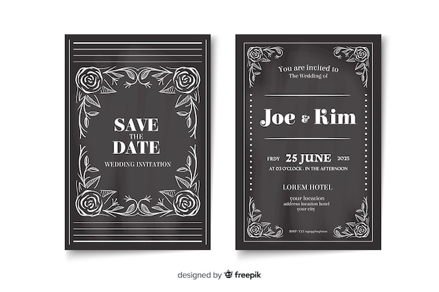 黒板にレトロな結婚式の招待状