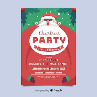 Рождественская вечеринка флаер шаблон с белой бородой в плоском дизайне