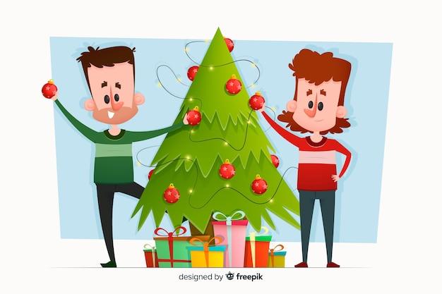 イラストのクリスマスツリーを飾る人々