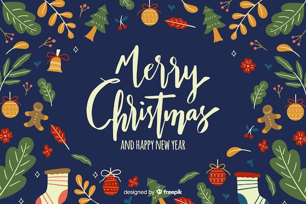 暗い青色の色合いで手描きのクリスマス背景