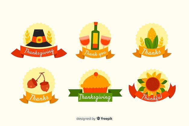 フラットなデザインの感謝祭のラベルコレクション