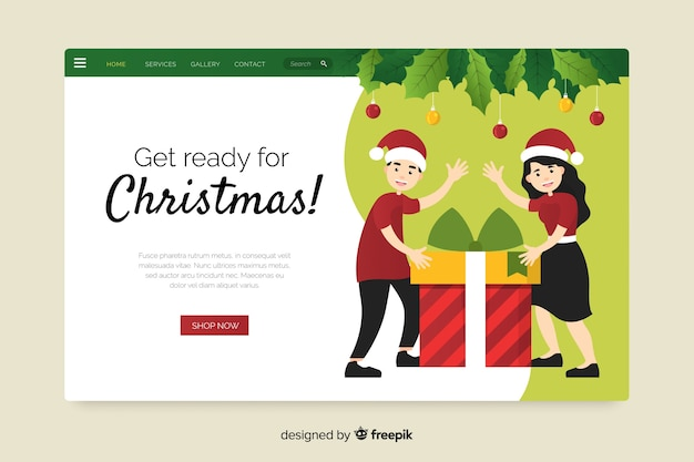 Плоский дизайн рождественский шаблон страницы посадки