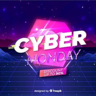 Концепция ретро футуристический кибер понедельник