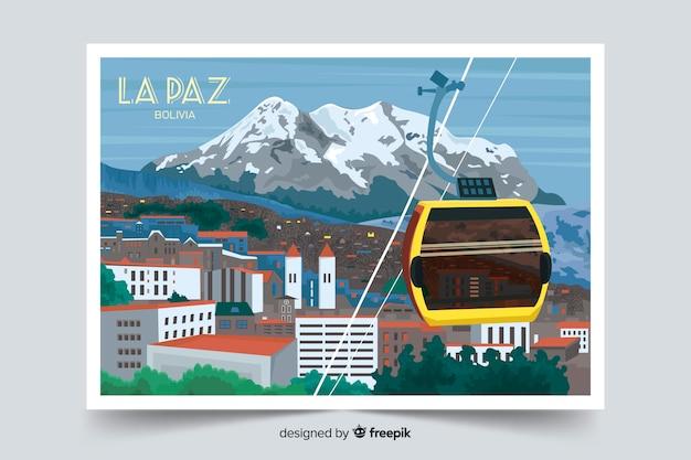 ラパスのカラフルな風景の背景