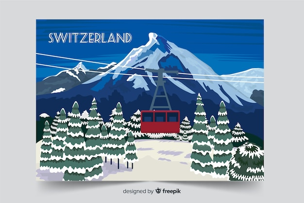 Швейцария зимний пейзаж фон