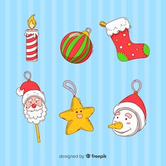 Симпатичные праздничные украшения для рождественской вечеринки на синем фоне