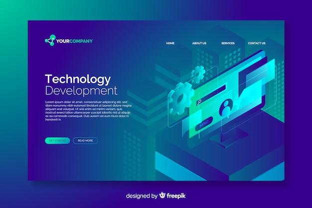技術コンセプトのデジタルランディングページ