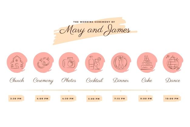 直線的なスタイルのピンクの色調での結婚式のタイムライン