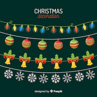 フラットなデザインのクリスマスデコレーションパック