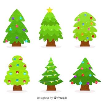 ボールコレクションとフラットのクリスマスツリー