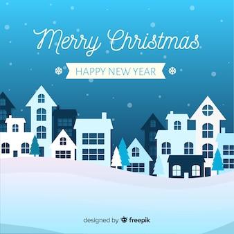 Рождественский городок в бумажном стиле синих оттенков