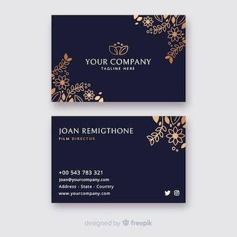 Золотой цветочный шаблон визитной карточки