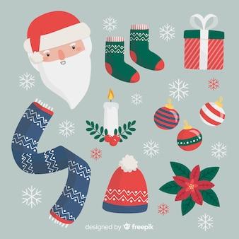 クリスマス要素コレクション手描きスタイル