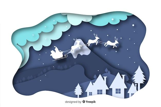 フラットなデザインのクリスマスタウンの背景