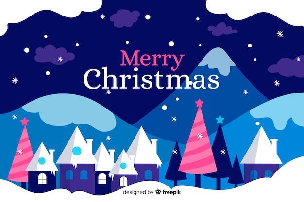 フラットなデザインのクリスマスタウンの壁紙
