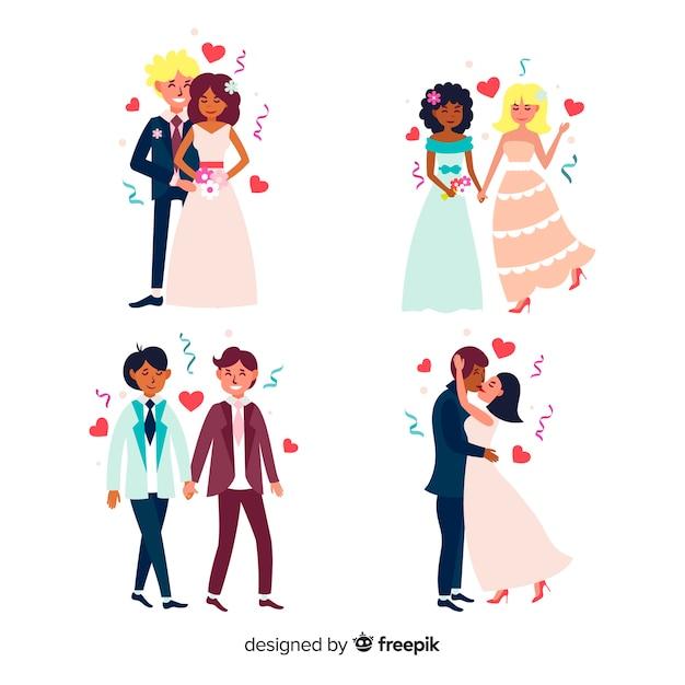 Плоский дизайн коллекции свадебных пар
