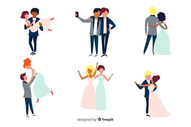 フラットなデザインの結婚式のカップルセット