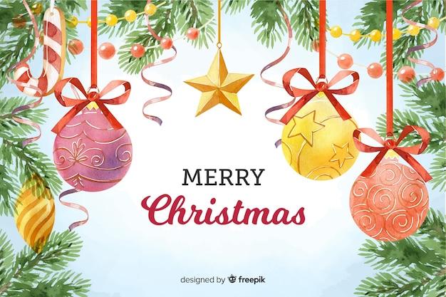 Акварельные рождественские шары фон