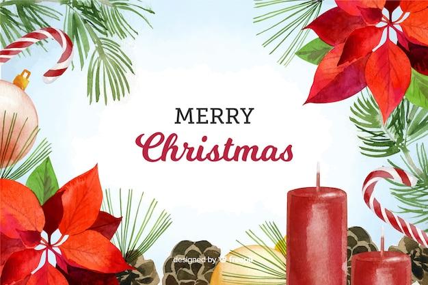 水彩のクリスマス装飾背景