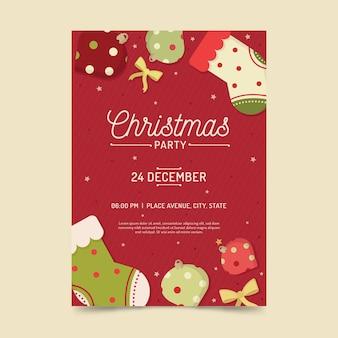 Рождественский постер шаблон в плоском дизайне
