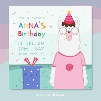 子供テンプレートの誕生日の招待状
